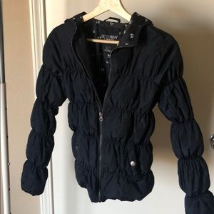 Navy blue rain jacket